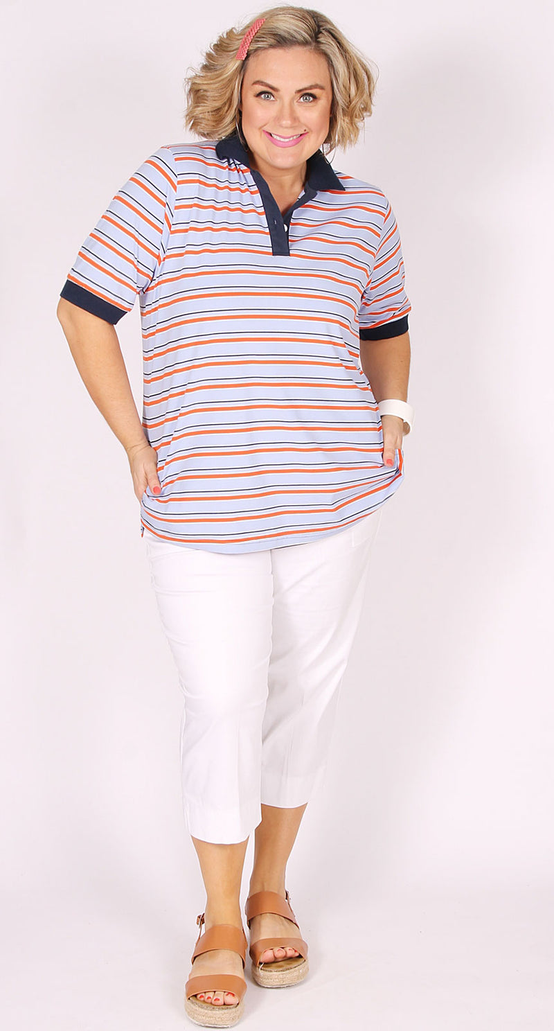 Ash Stripe Polo Sky Blue