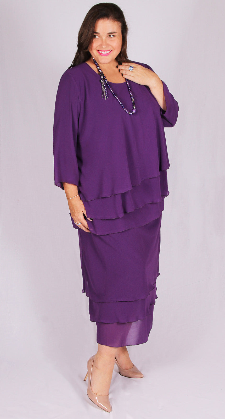 Rosaline Chiffon Layer Top Plum