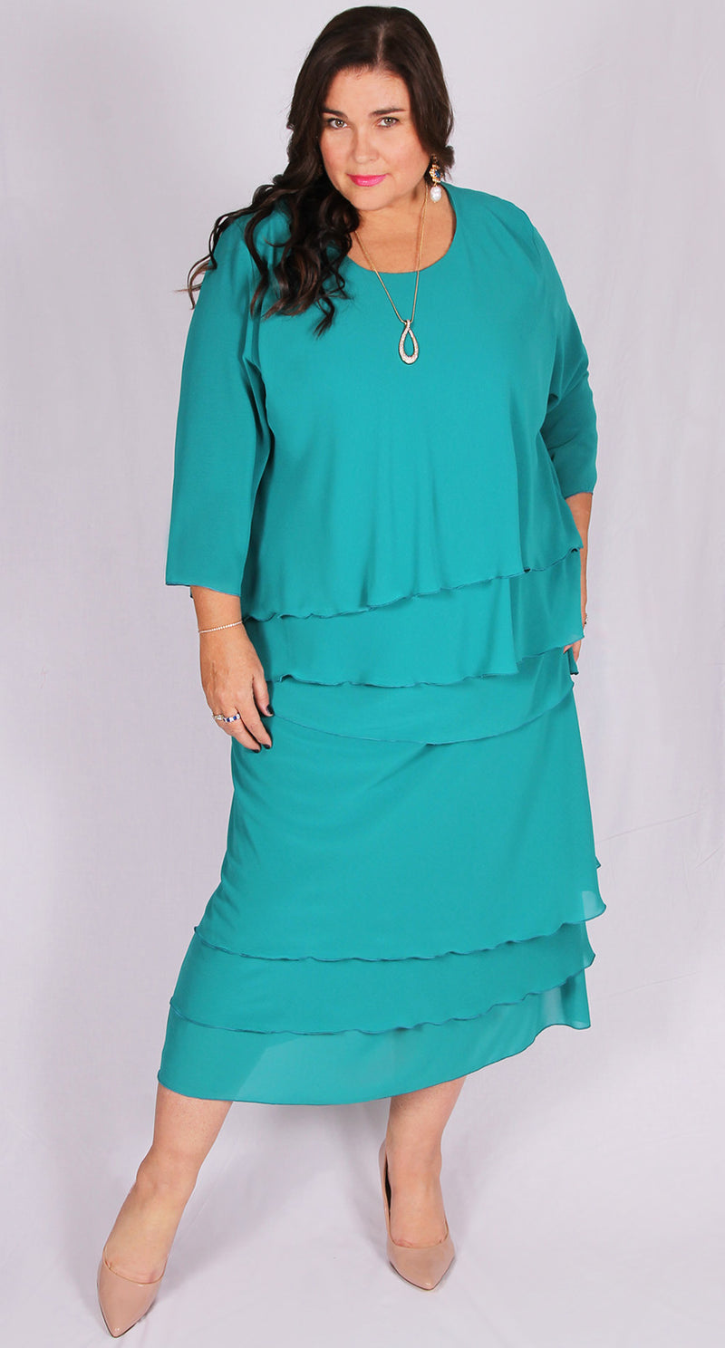 Rosaline Chiffon Layer Top Teal