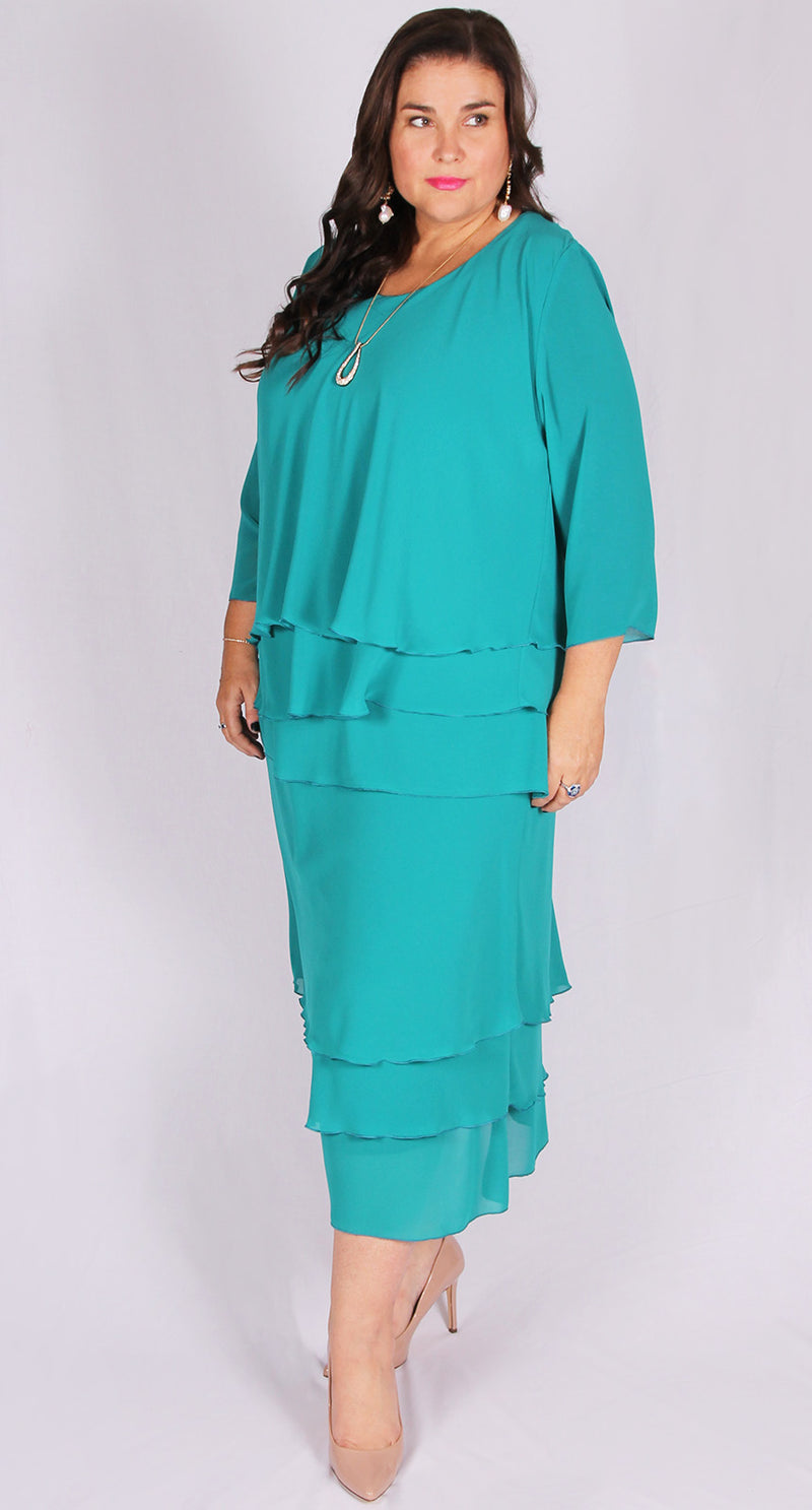 Rosaline Chiffon Layer Skirt Teal