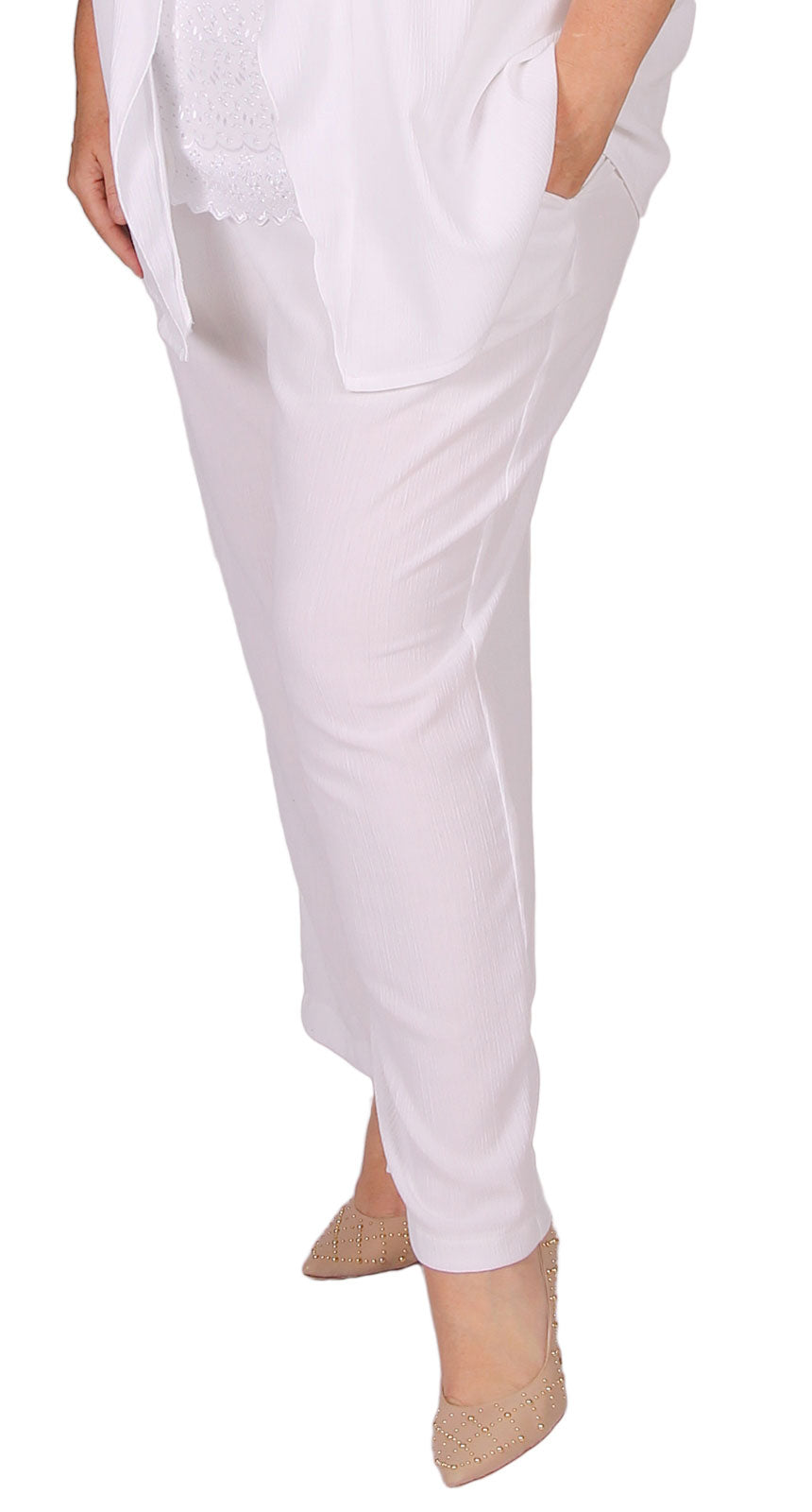 Derby Crinkle Pull-On Pant White