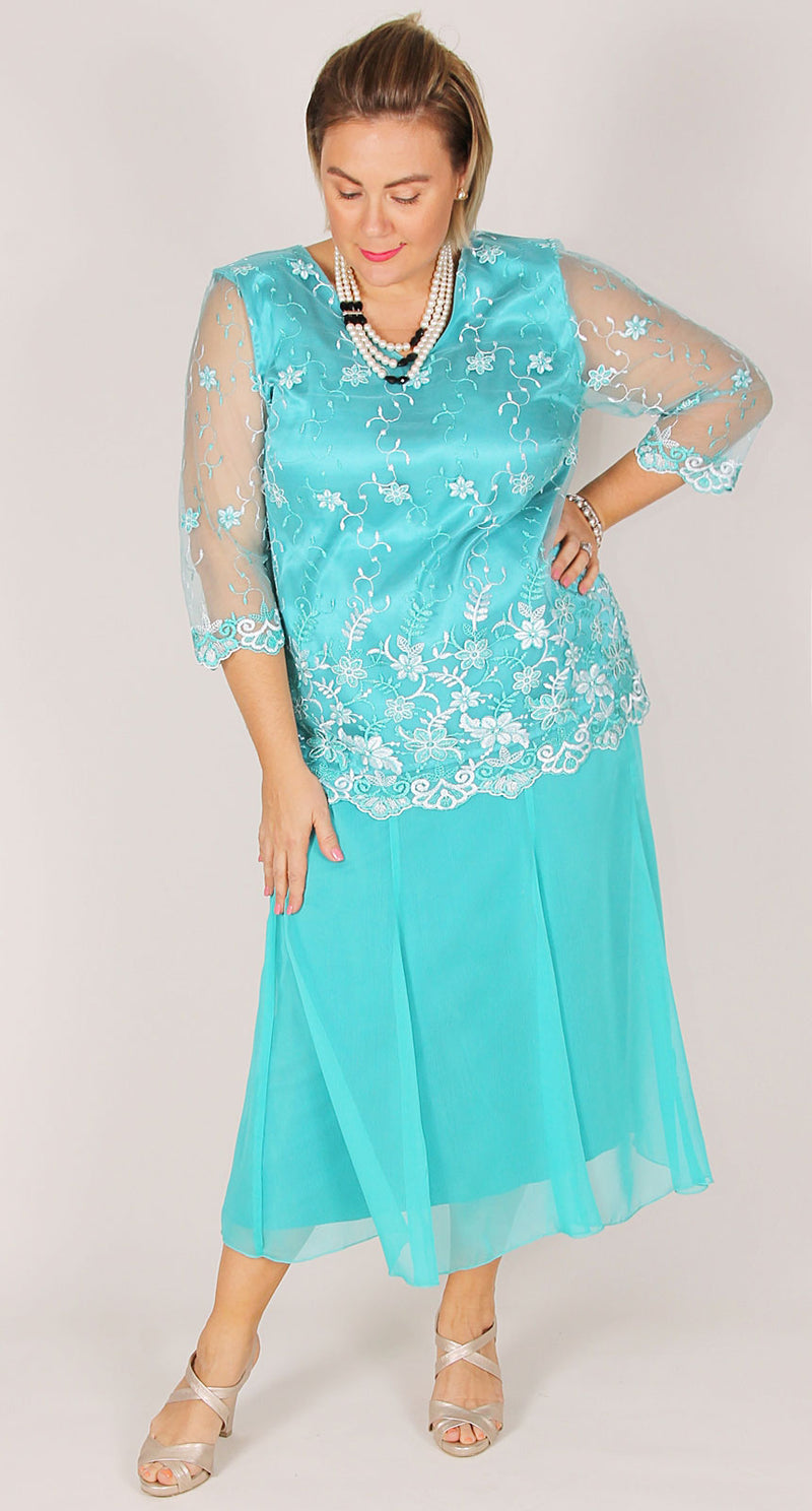 Turquoise Lace V-neck Top