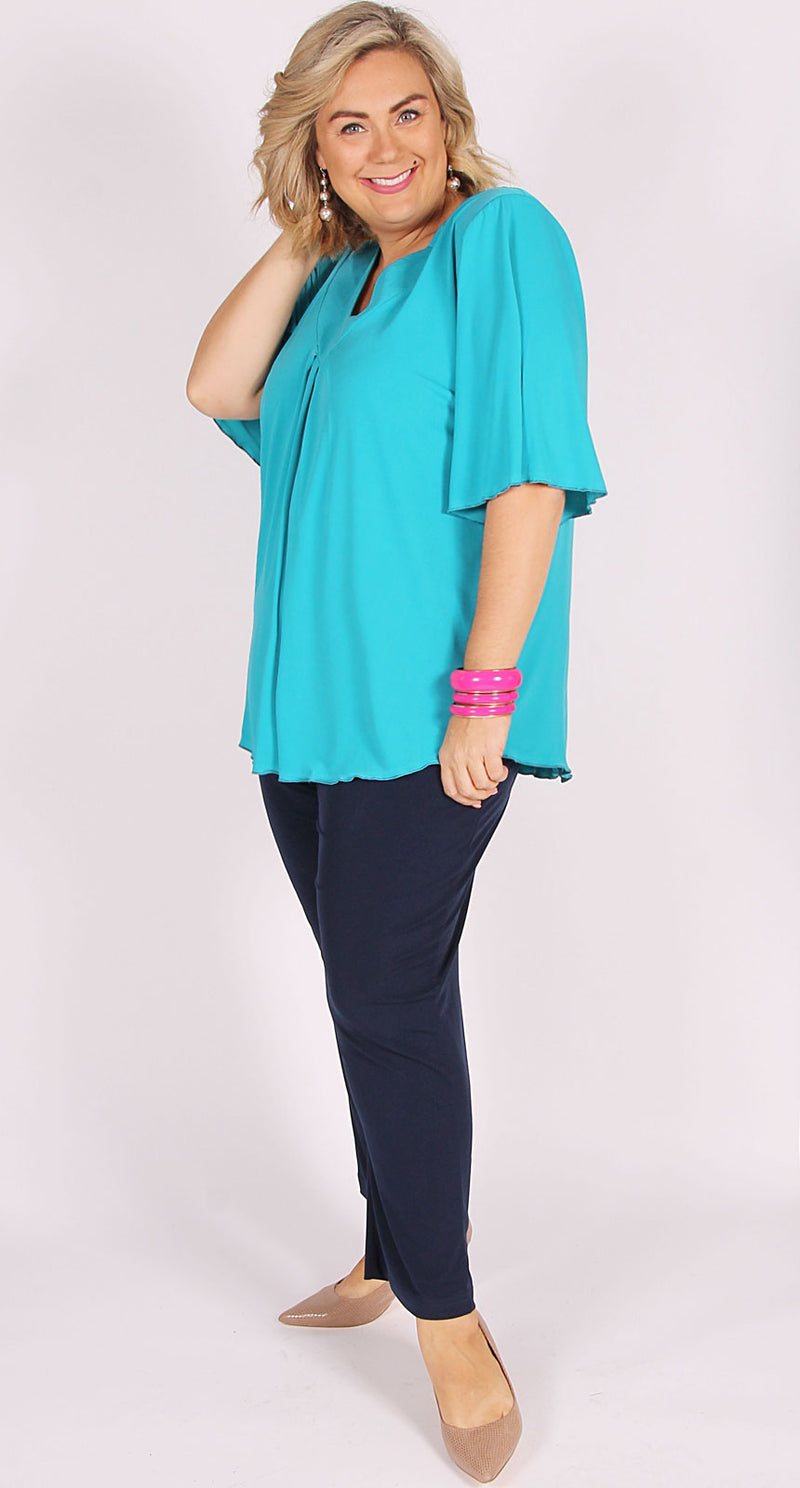 Bella V-Neck Top Aqua