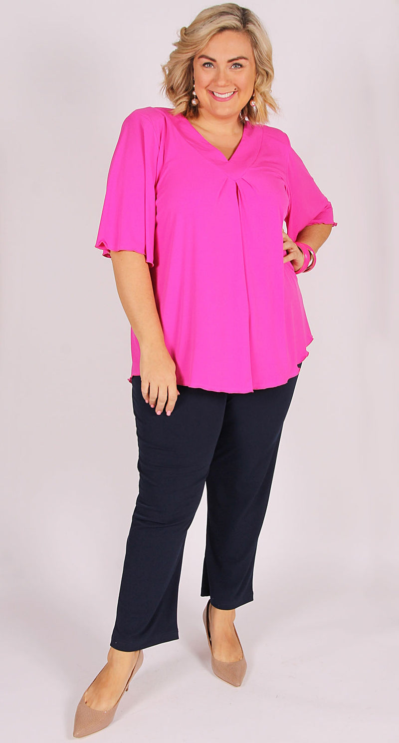 Bella V-Neck Top Fuchsia Pink