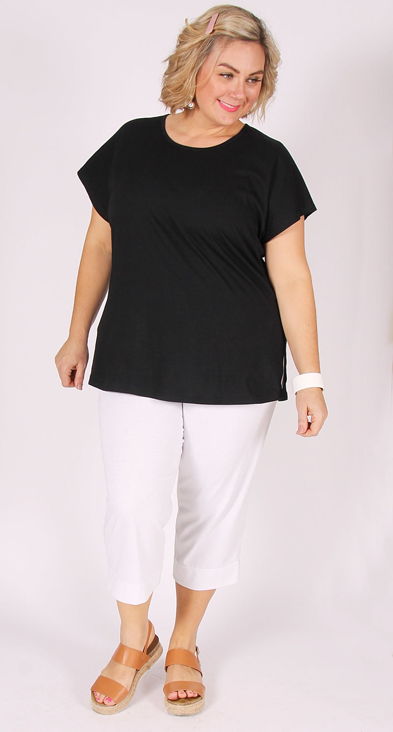 Easy Cotton Shell Top Black