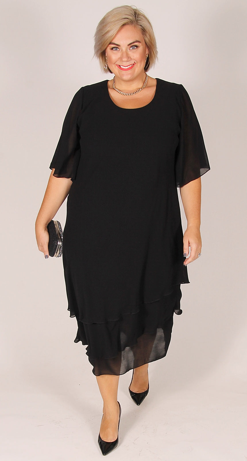 Athena Chiffon Layer Dress Black