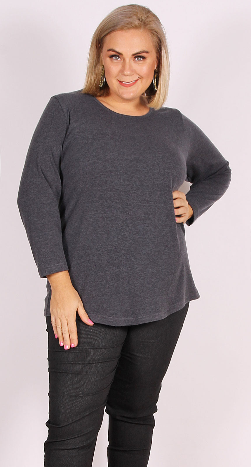 Soft Touch Knit Crew Charcoal