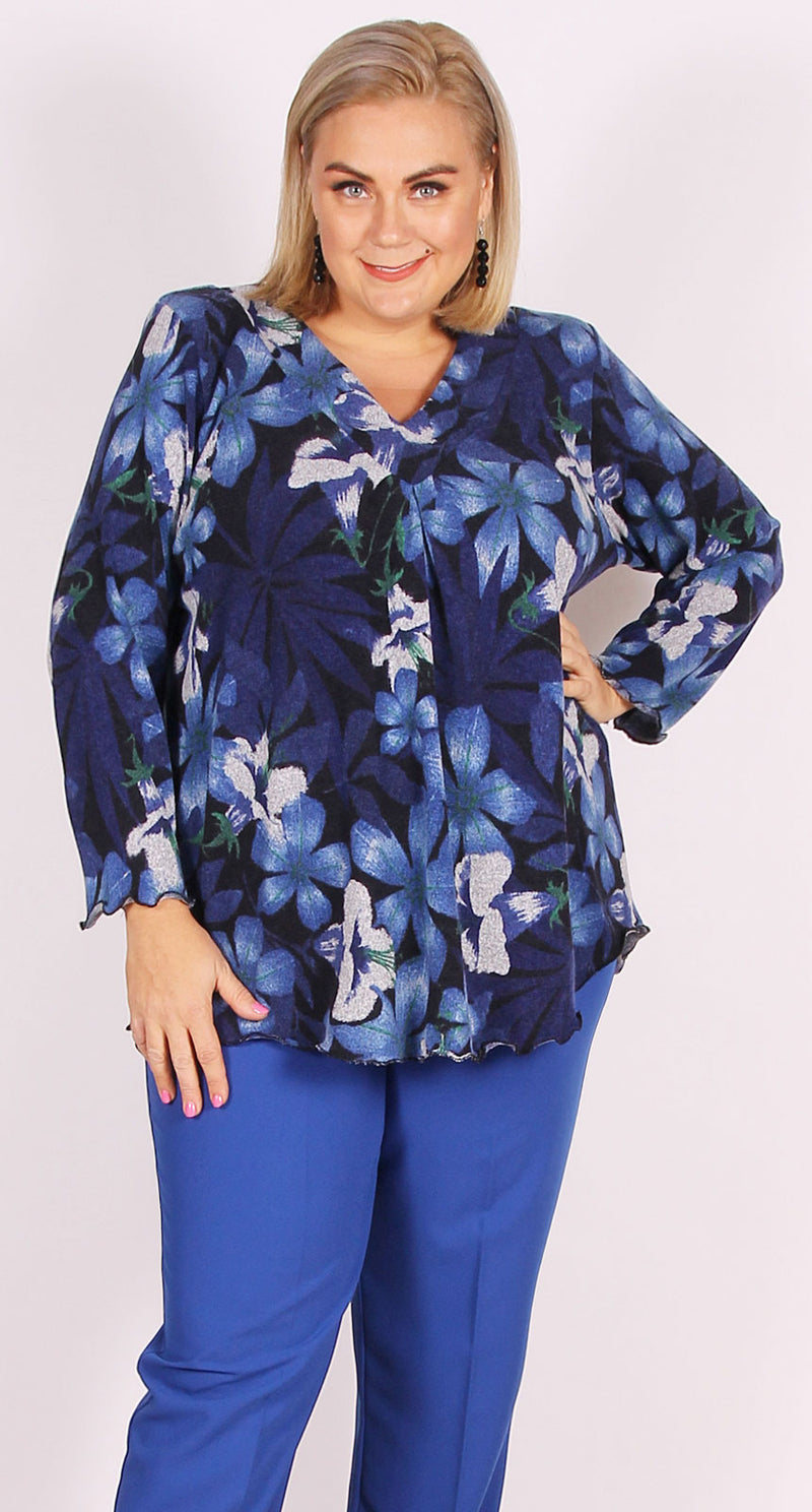 Vanessa V-Neck Royal Flowers
