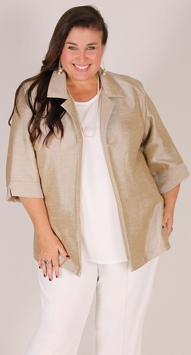 Lustrous Sheen Classic Jacket Gold