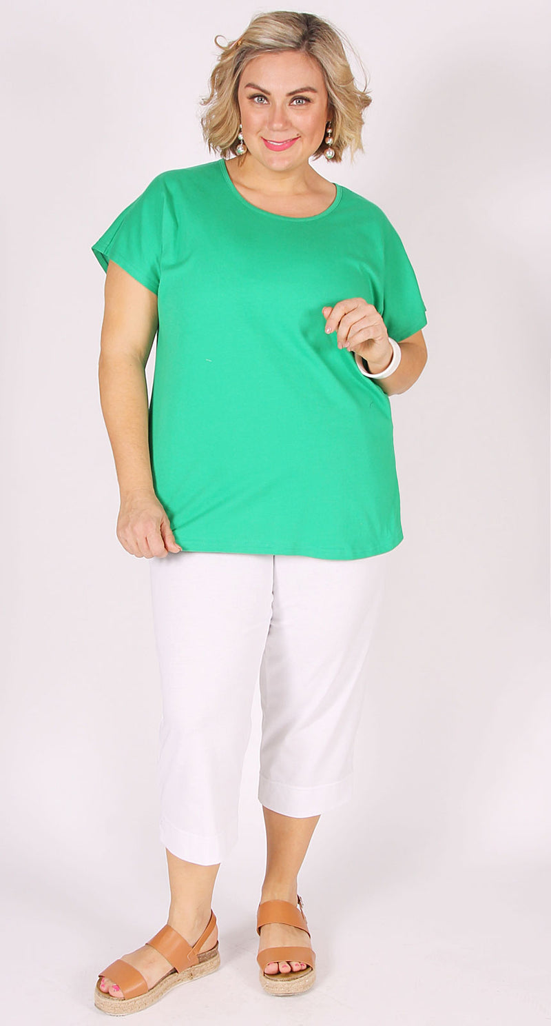 Easy Cotton Shell Top Kelly Green
