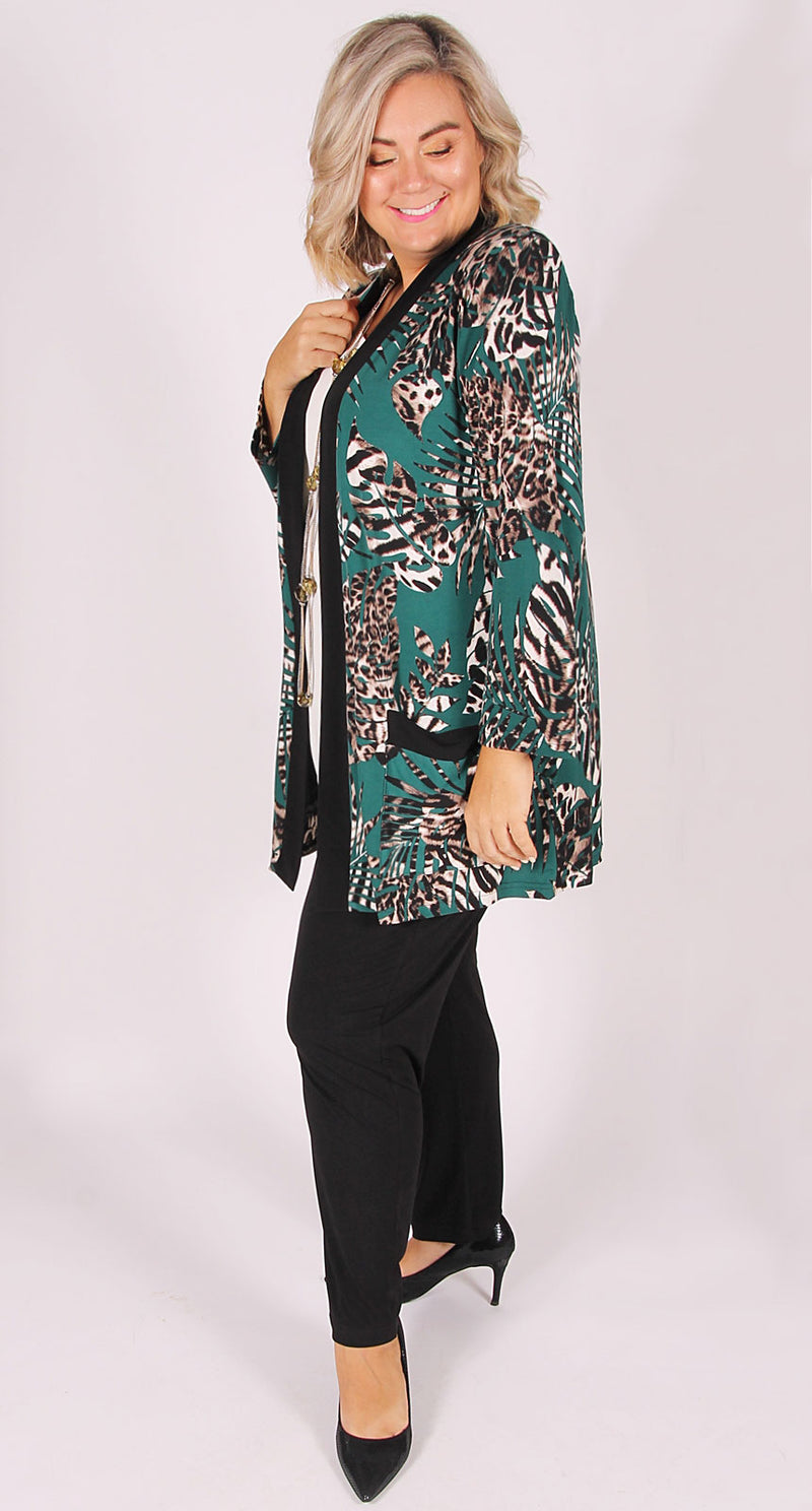 Elegance Edge to Edge Jacket Animal Leaf on Jade