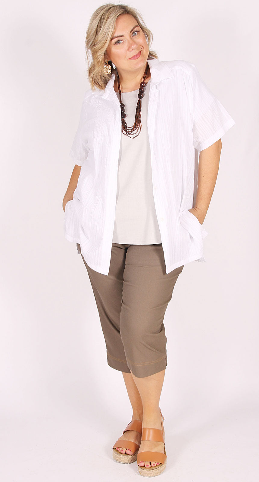 Self-Stripe Crinkle Cotton Classic Blouse White