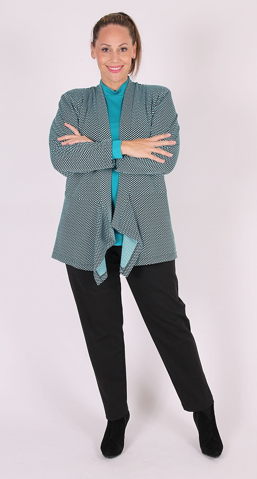 Mint Polka Dot Waterfall Jacket