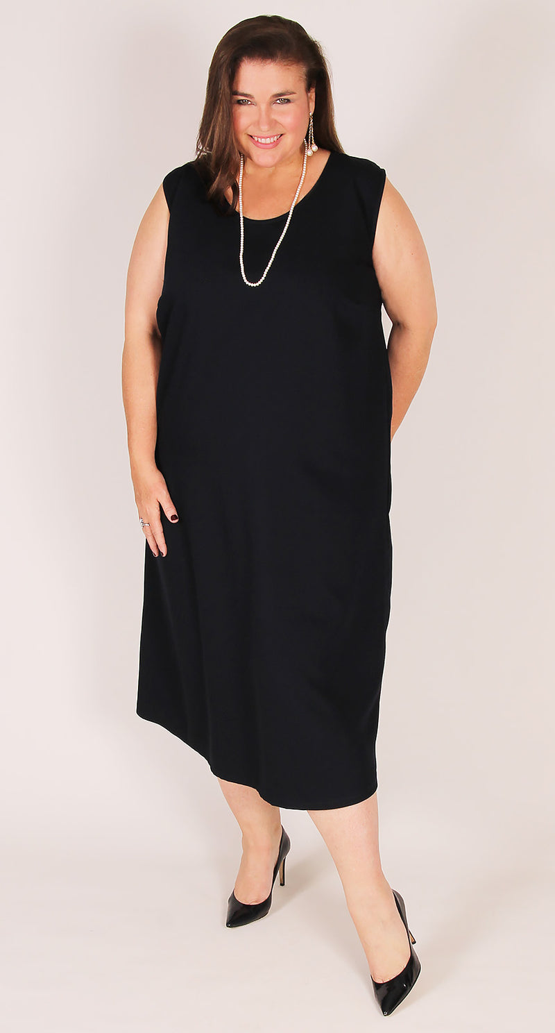 Sybil's Crepe Singlet Dress Navy