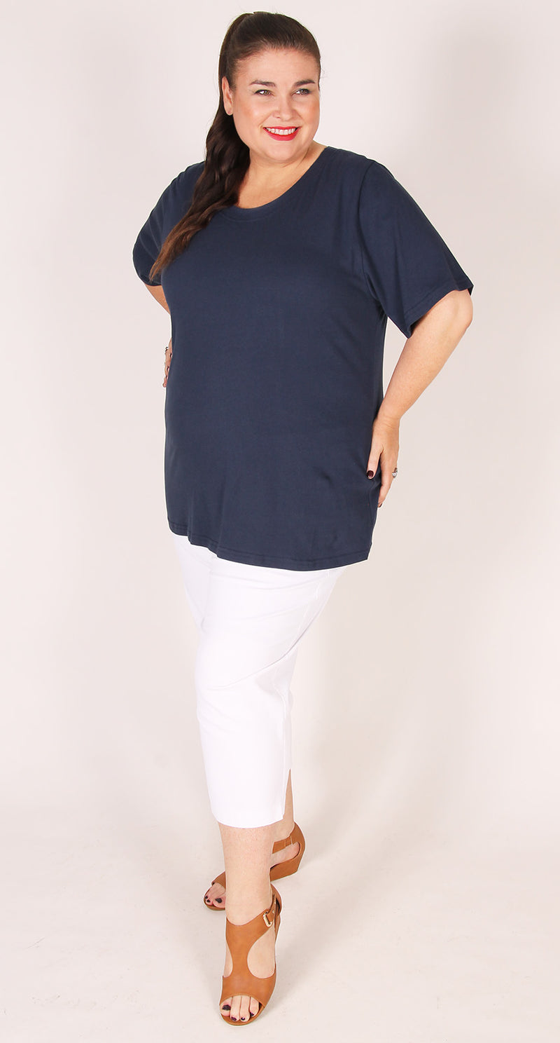 Rosie Round Neck Cotton Tee Navy