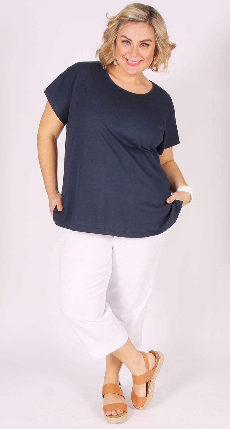 Easy Cotton Shell Top Navy