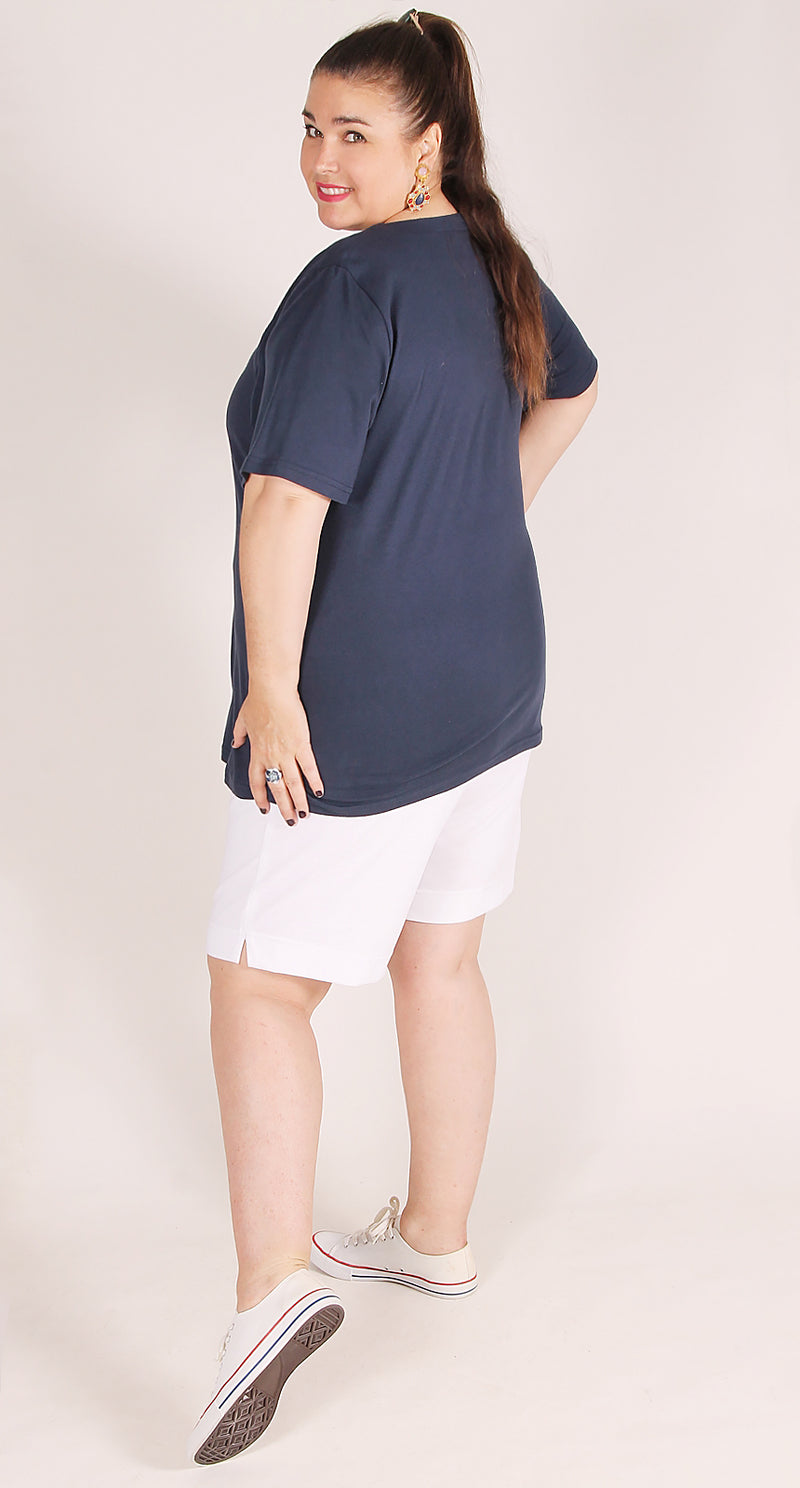 Veronica V-Neck Cotton Tee Navy