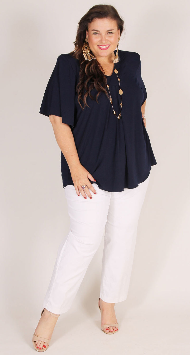 Cafe White Stretch Cotton Pull-On Jean