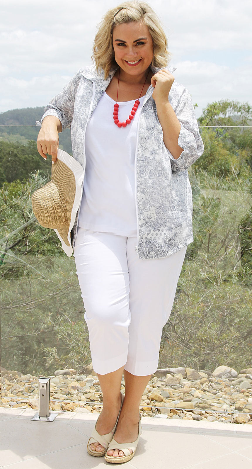 Lydia Linen Zip Front Jacket Ink on Ivory