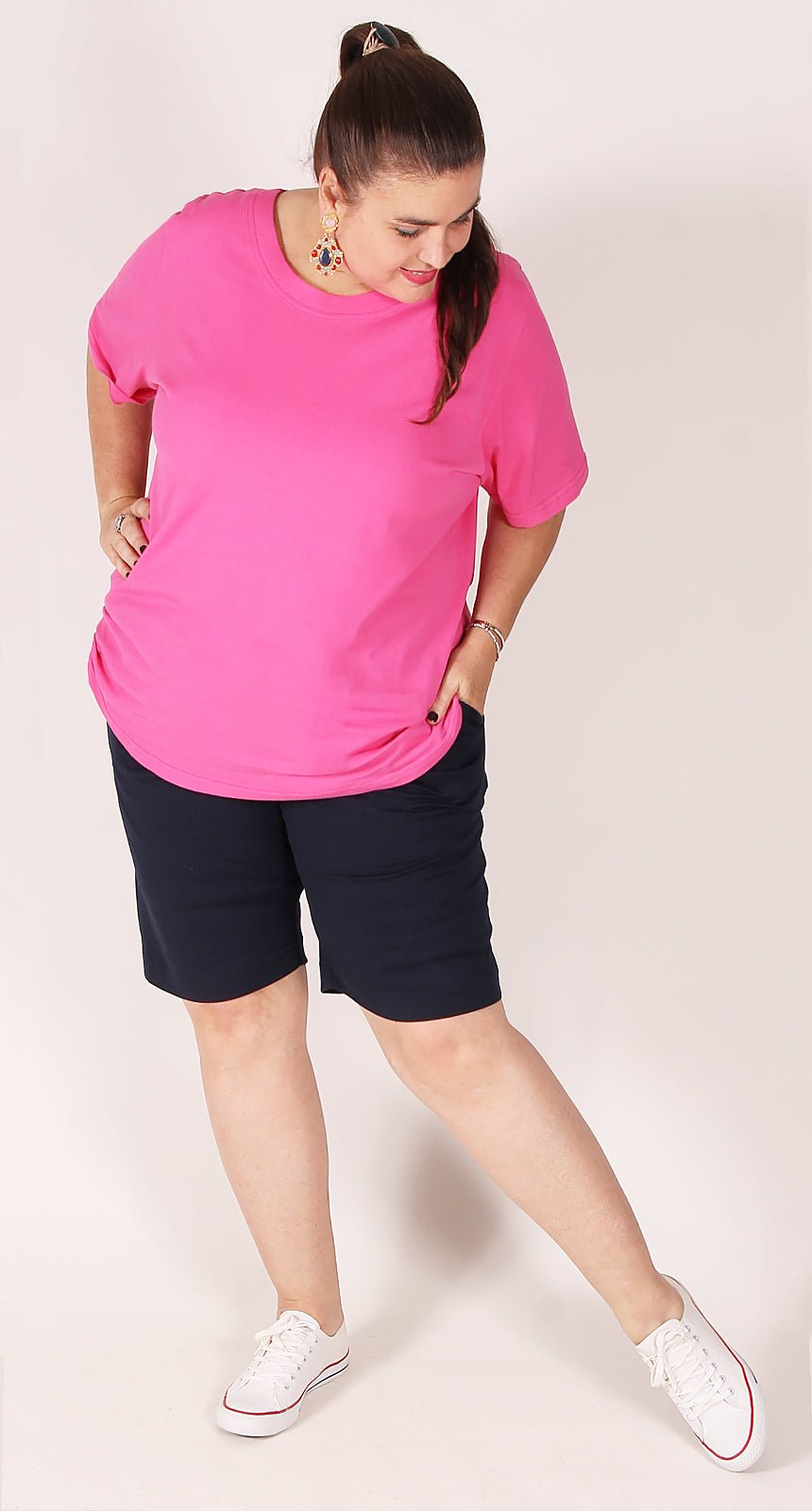 Rosie Round Neck  Cotton Tee Pink