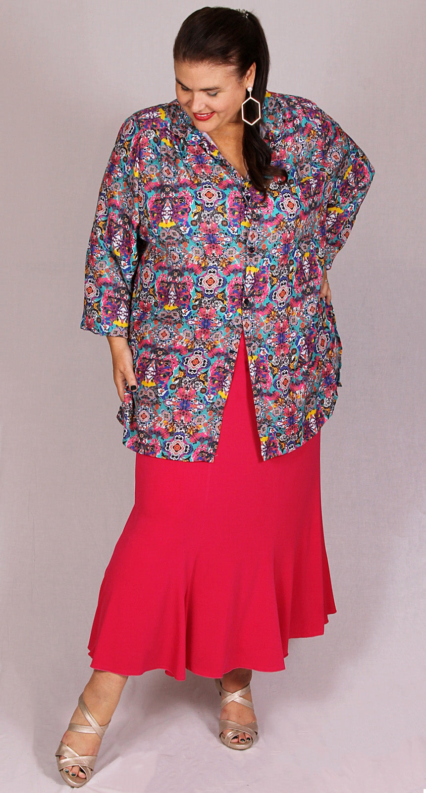 Flare and Fit Eight Gore Skirt Fuchsia