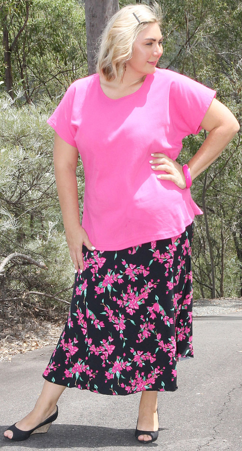 Florence Four Panel Pull-on Skirt Pink Flowers