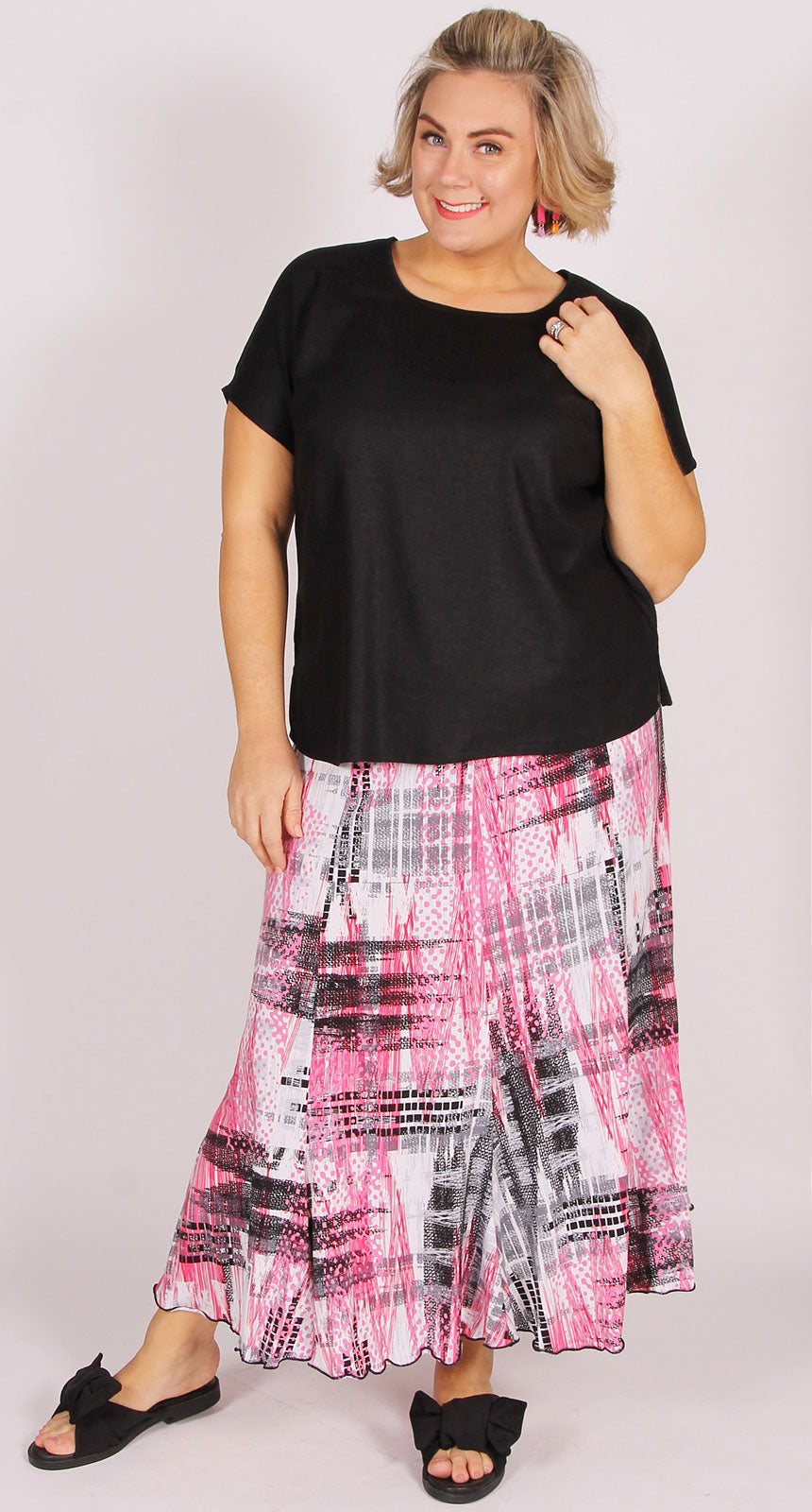 Fit and Flare Eight Gore Skirt  Candy Pink Geo