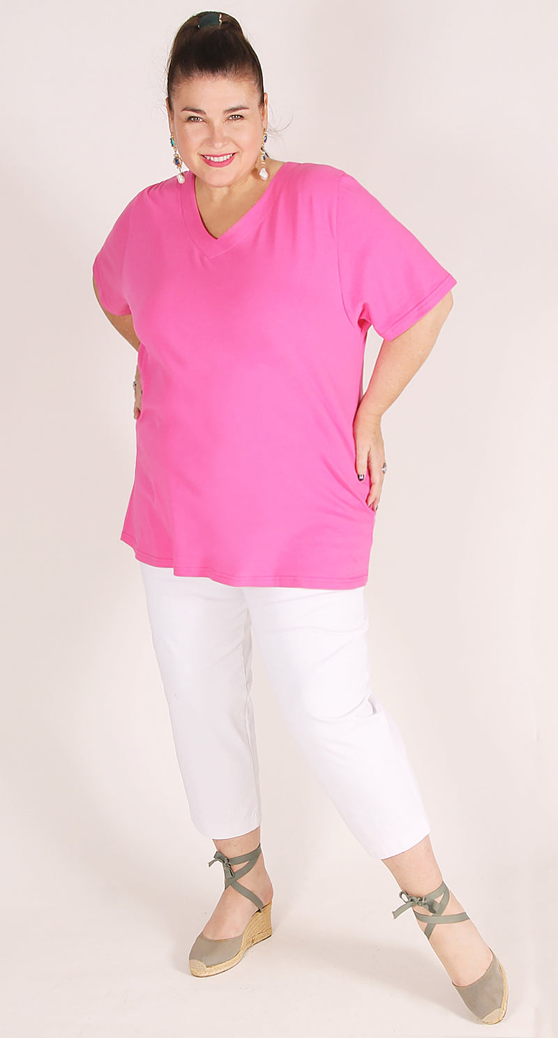 Cafe White Stretch Cotton Pull-On Capri