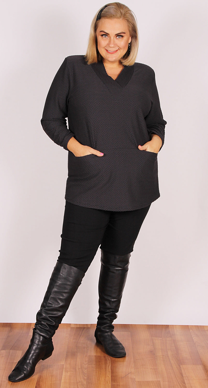 Valerie V-Neck with Pockets Charcoal Bubble Knit