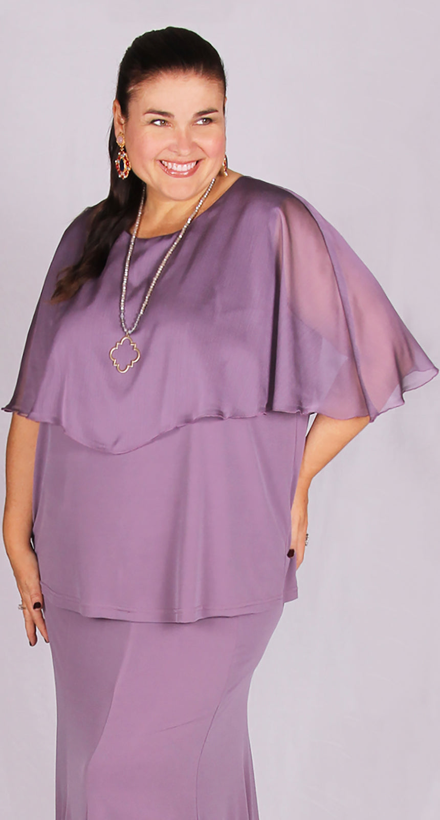 Chiffon Cape Overlay Top Soft Plum