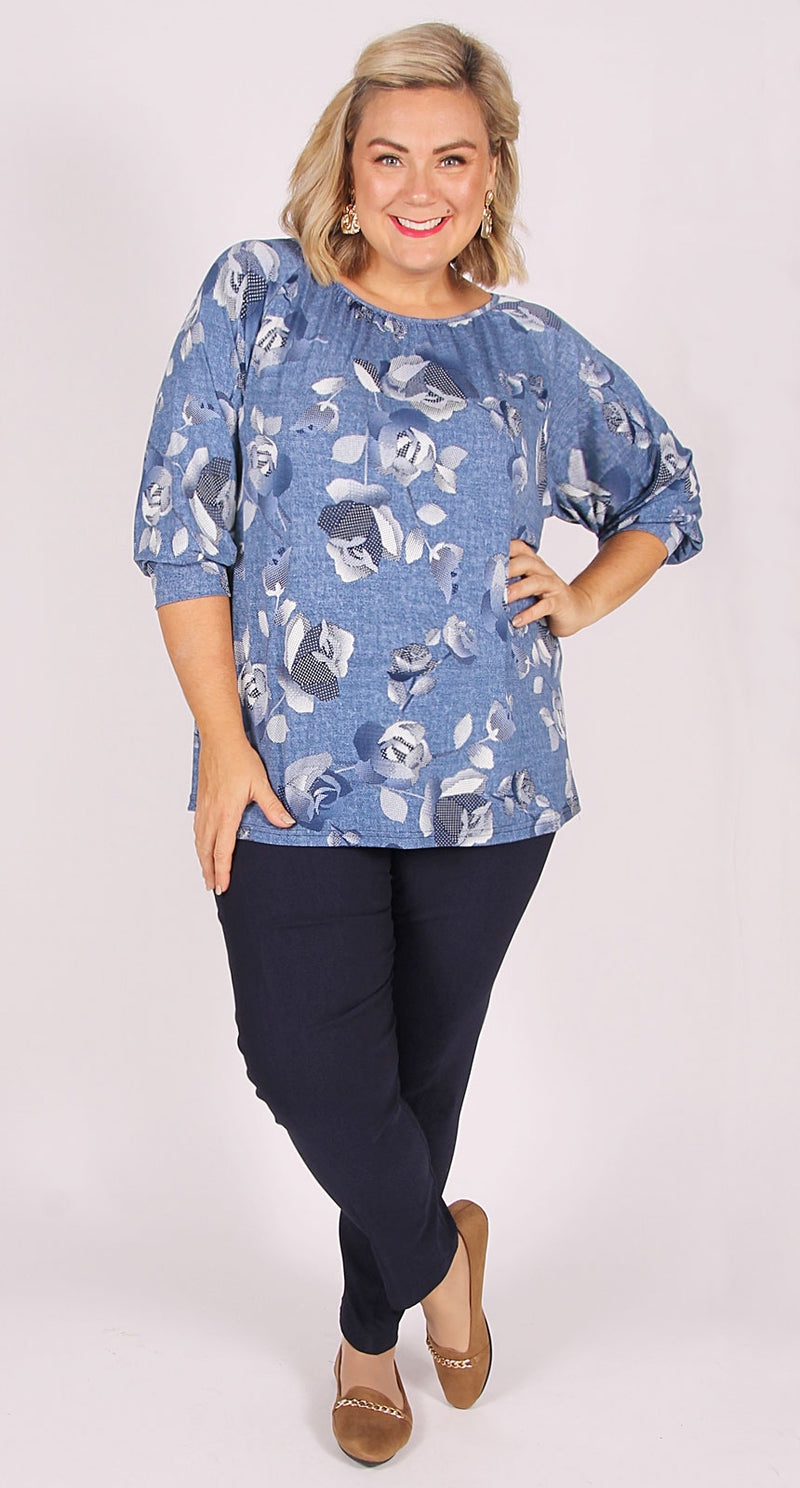 Isabella Waterfall Front Top Cobalt