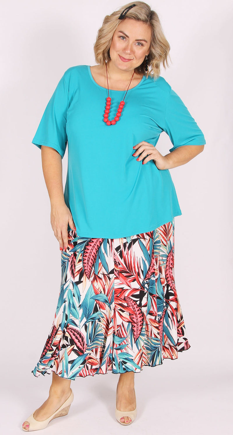 Rikki Round Neck Top Aqua