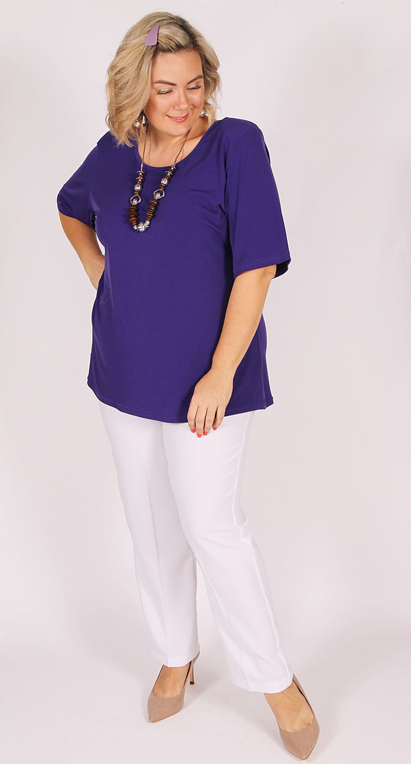 Rikki Round Neck Top Purple