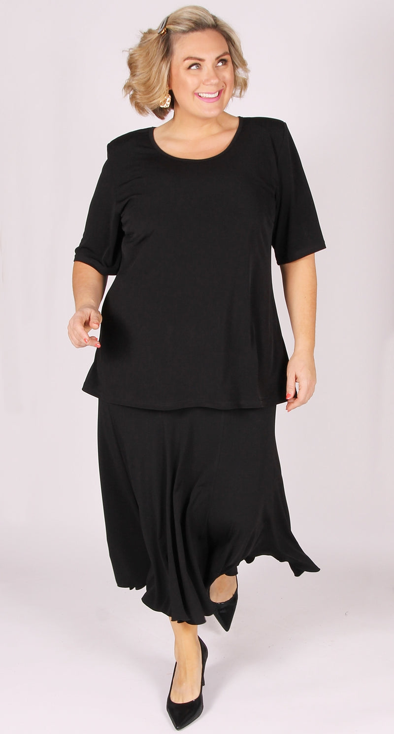 Fit and Flare Eight Gore Skirt Black