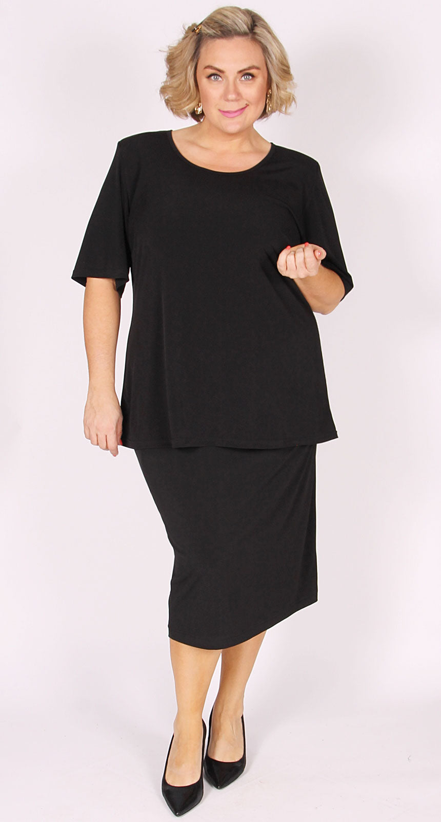 Lagos Mid-Length Knit Straight Skirt Black