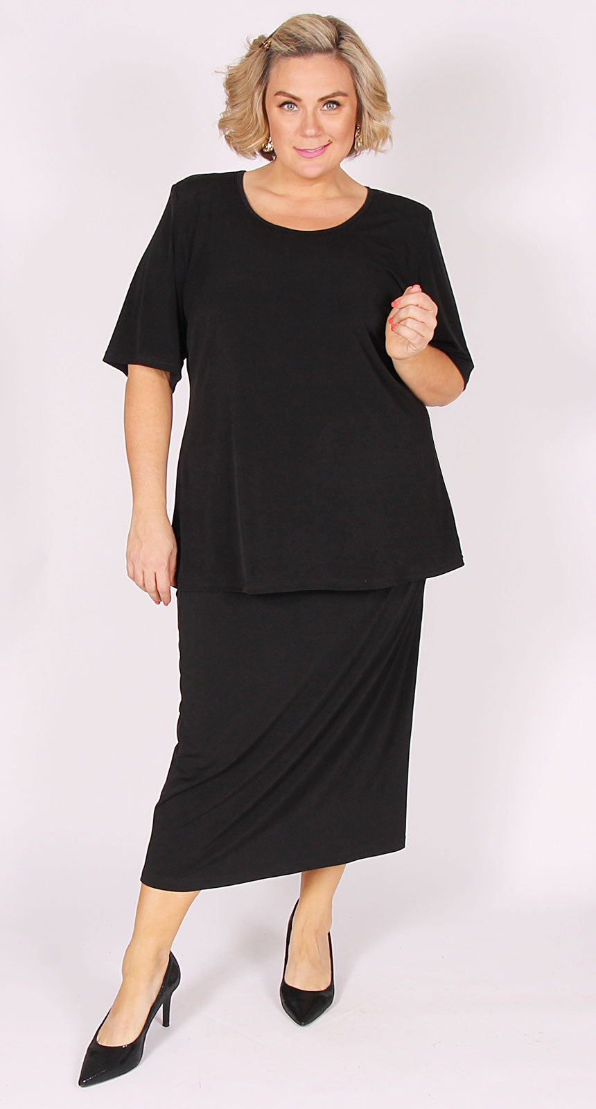 Lagos Long-Length Knit Straight Skirt Black