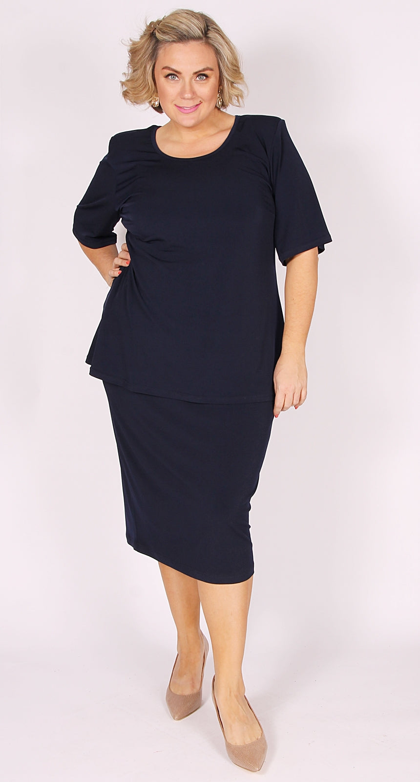 Lagos Mid-Length Knit Straight Skirt Navy