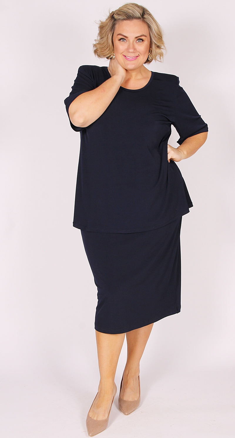 Rikki Round Neck Top Navy