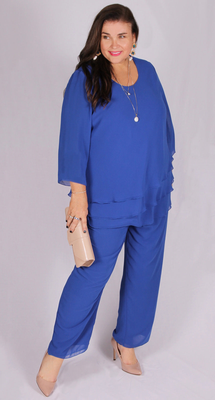 Rosaline Chiffon Layer Top Royal Blue