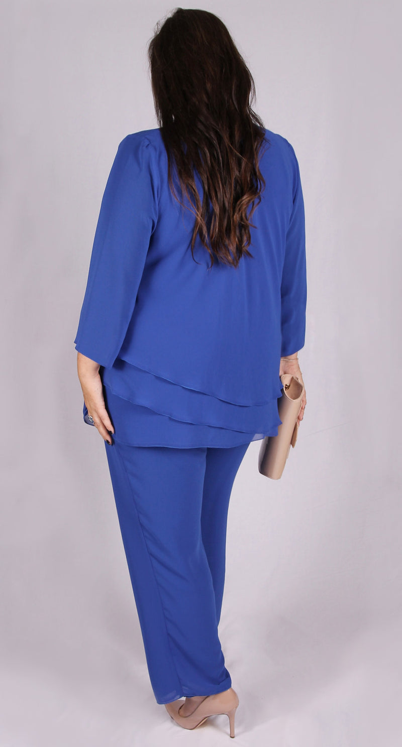 Rosaline Chiffon Pant Royal Blue