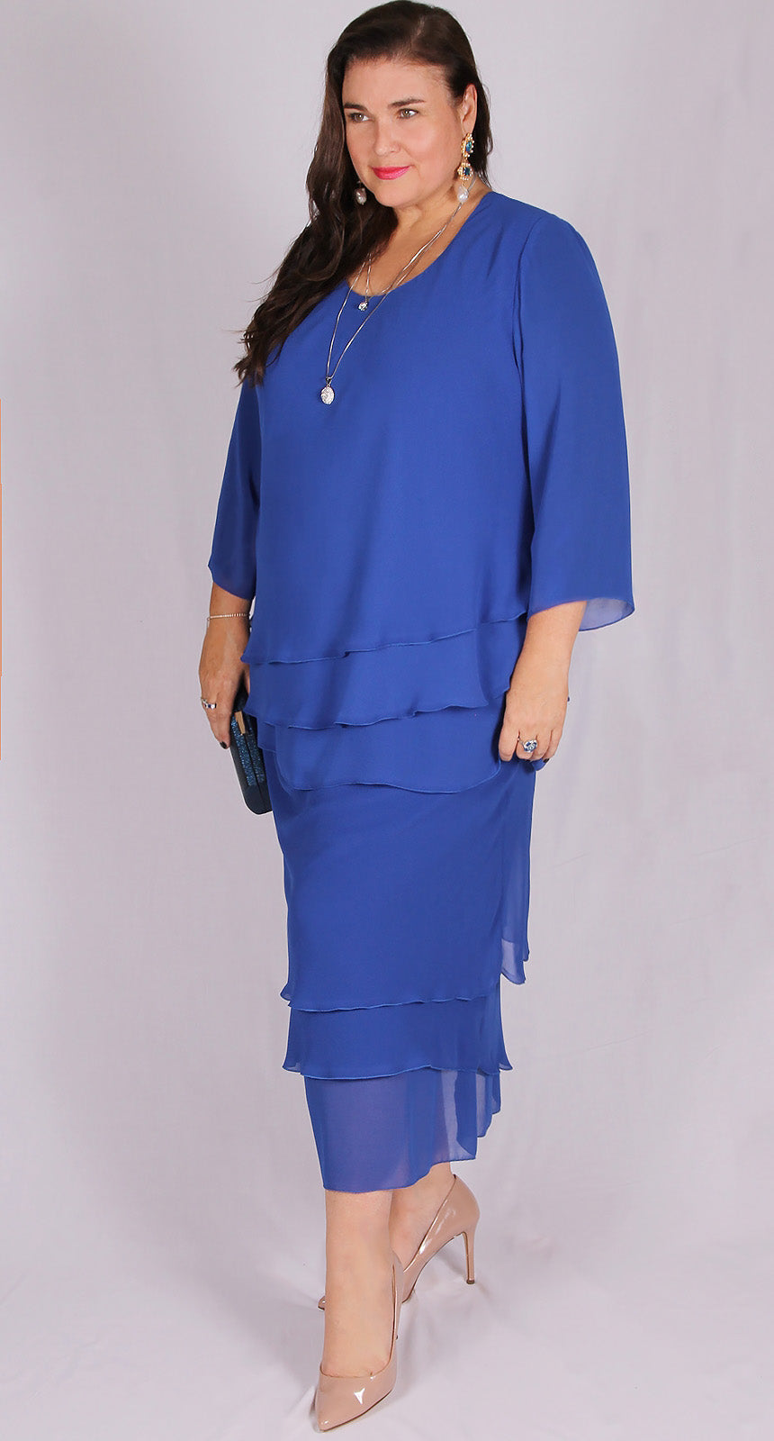 Rosaline Chiffon Layer Skirt Royal Blue