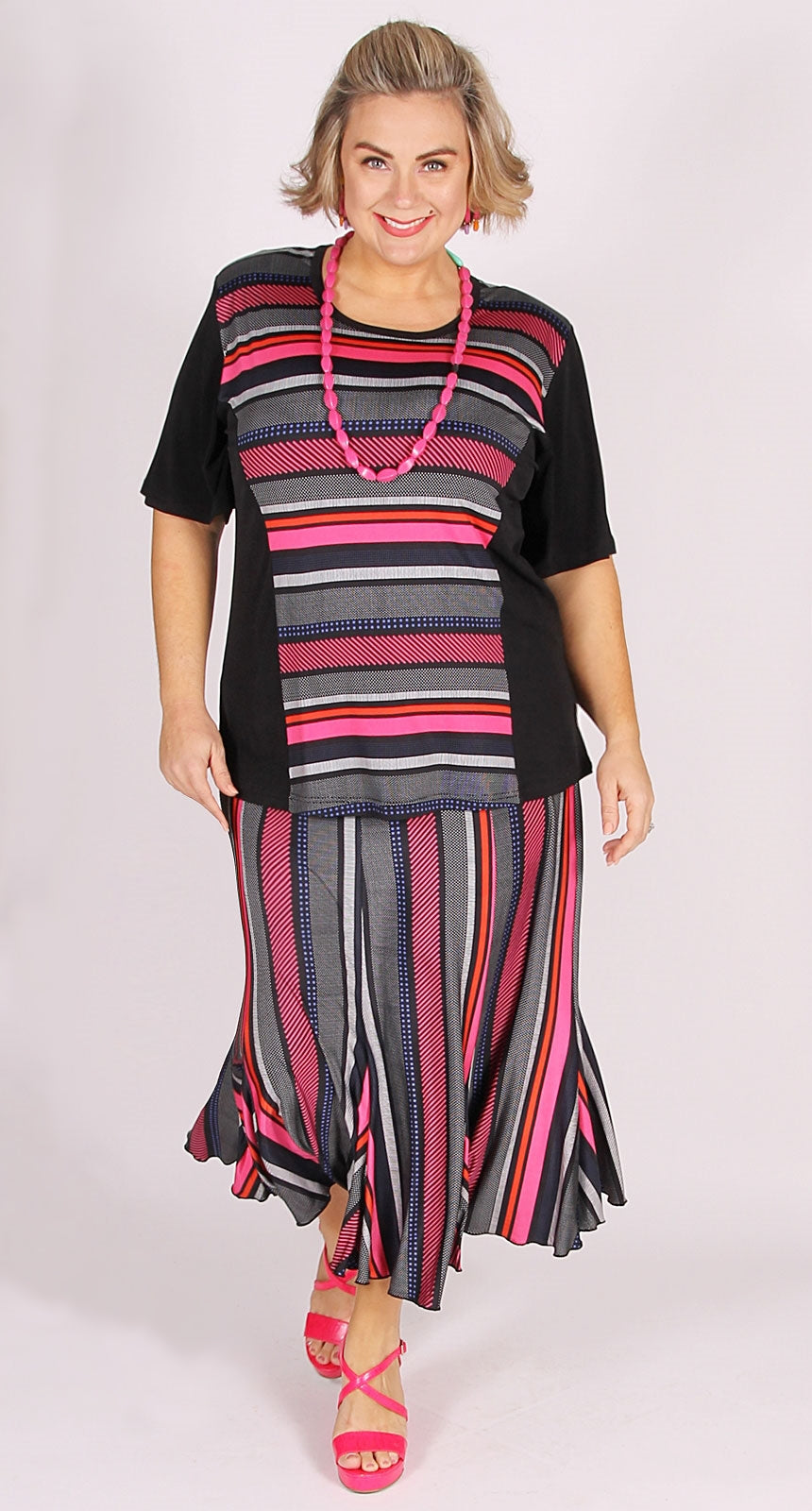 Sculpted Panel Front Top Fuchsia Stripe.