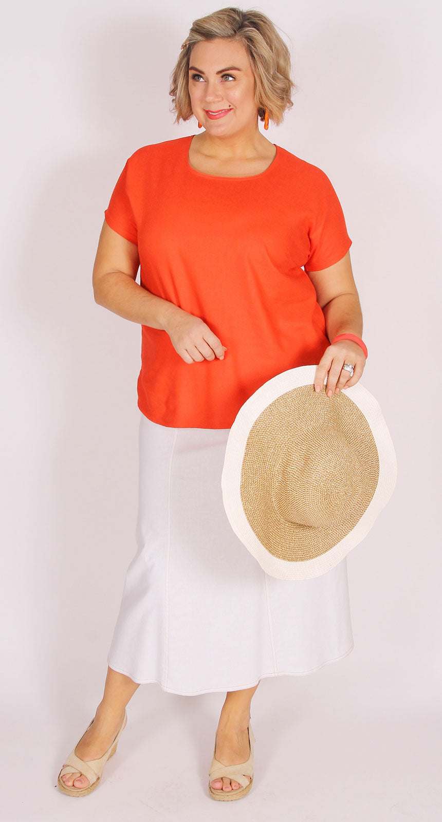Georgia Stretch Linen Six Gore Skirt White
