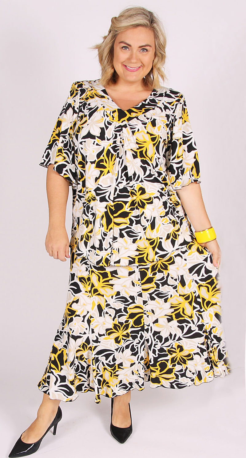 Fit & Flare Skirt Yellow|Black