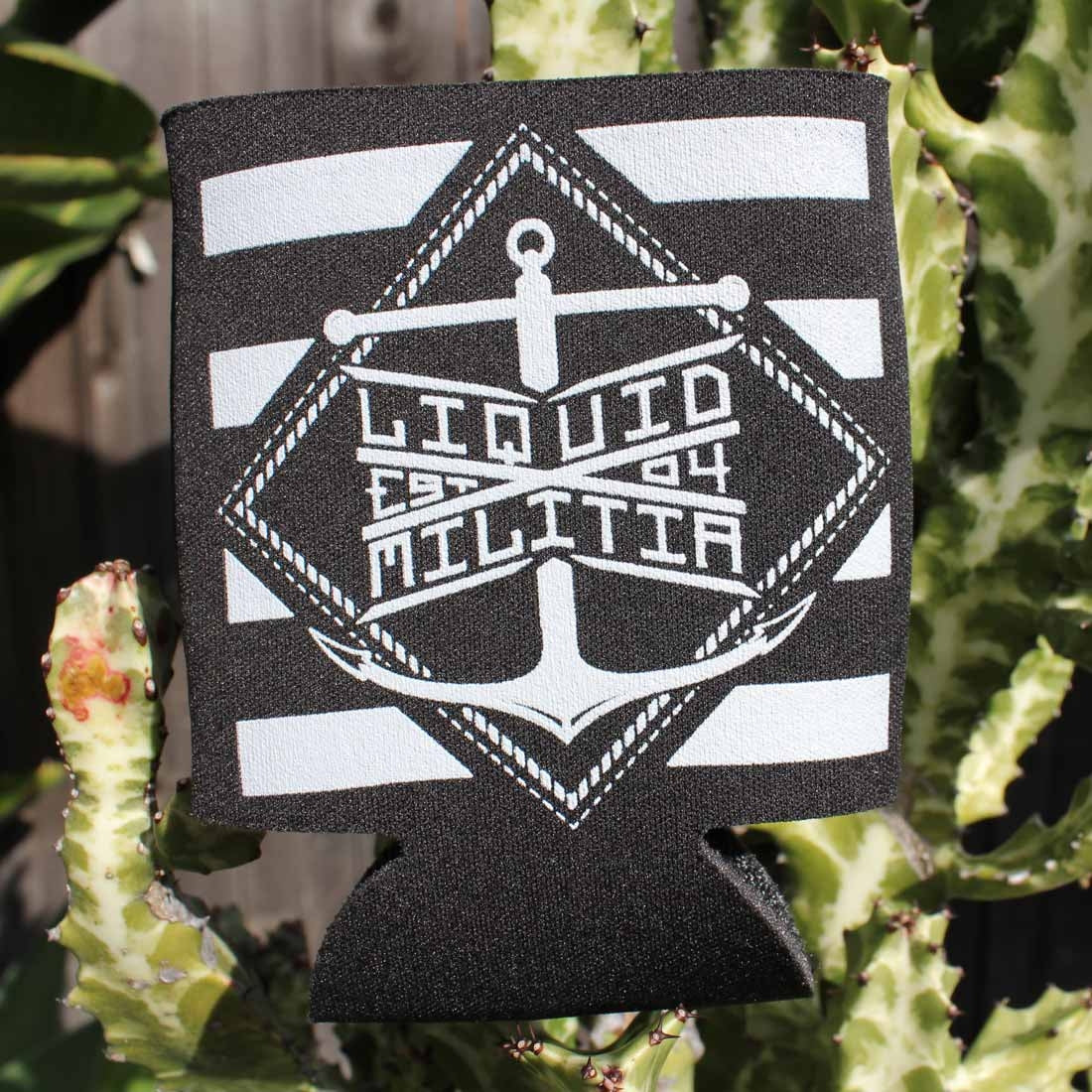 Liquid Militia black and white koozie