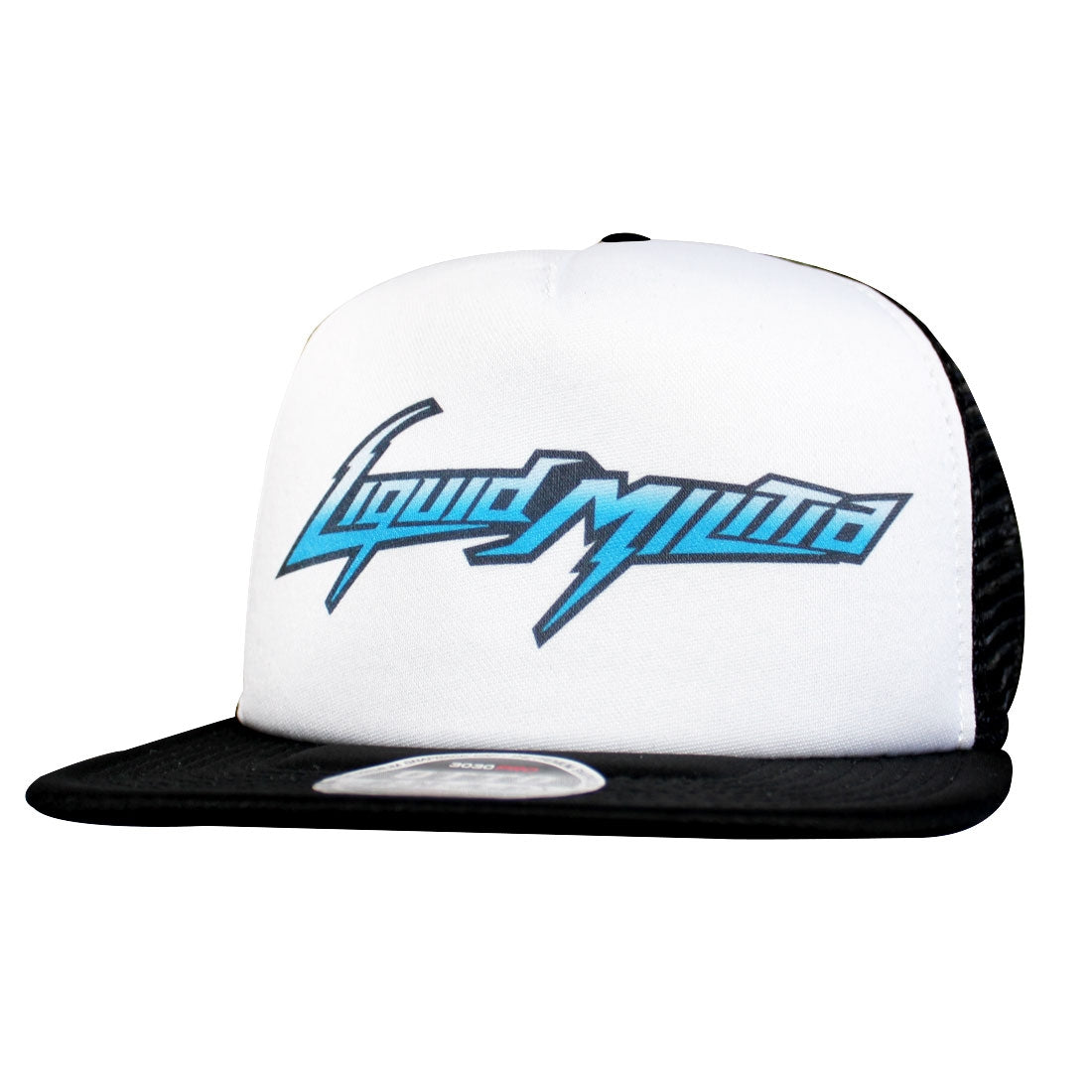 Fuse Blue Flat Bill Trucker Hat in Black White Black - Front View
