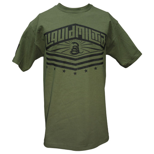 Gadsden flag Liquid Militia men's t-shirt on a military green shirt