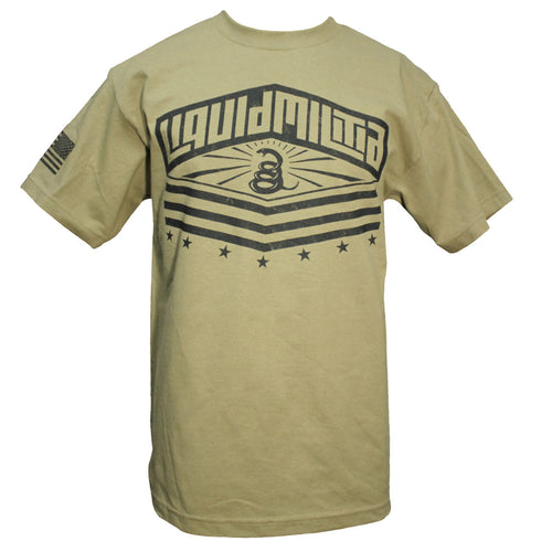 Liquid Militia's version of the Gadsden flag logo on a men's t-shirt