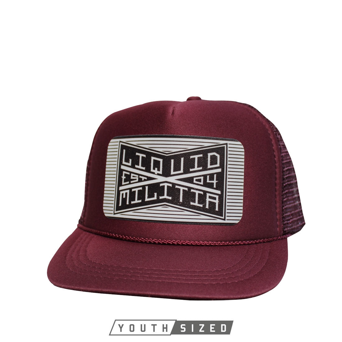 Bind Youth Curved Bill Trucker in Maroon - Front View