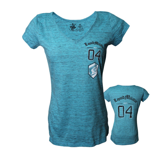 Prep Girls V-Neck in Turquoise Heather - Front Back